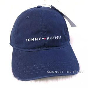 d420898e52f ... Tommy Hilfiger Spell Out Blue Strapback Dad Hat ...